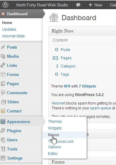ct wordpress website menu